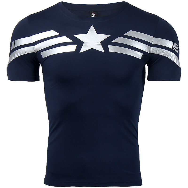 Captain america leisure style 3d printed regular short for Compressed promotional t shirts