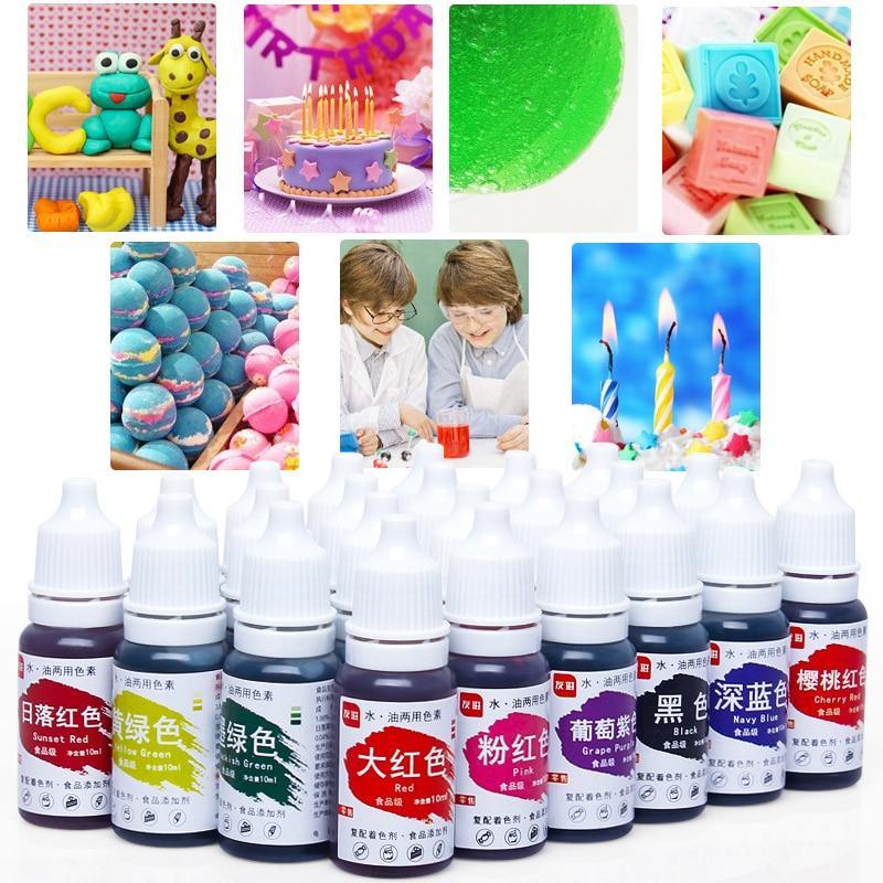 24 Colors Edible Pigment 10ML Macaron Cream Food Coloring Ingredients Cake Fondant Baking Cake Edible Color Pigment Pastry Tools