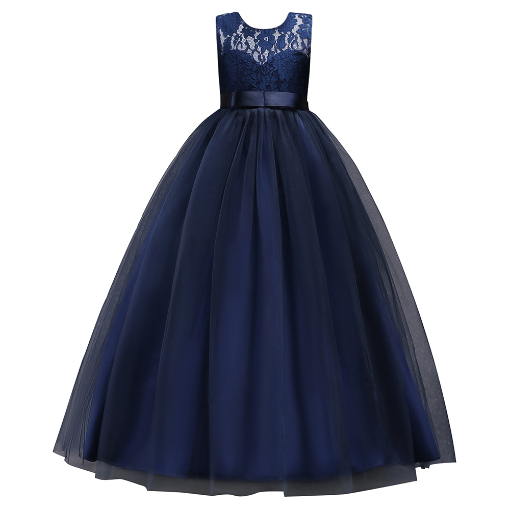 In Stock Navy Blue Lace Flower Girl Dresses 2019 Soft Tulle O-Neck Kids Evening Gowns Ball Gown Girl Prom Dresses Pageant Dress