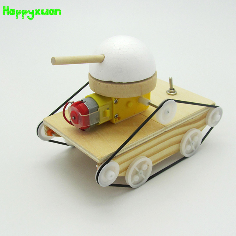 Happyxuan Cool Kids Creative DIY Assembled Tank Model Kits Wood Material <font><b>Physical</b></font> <font><b>Science</b></font> Experiment Toys Educational Children