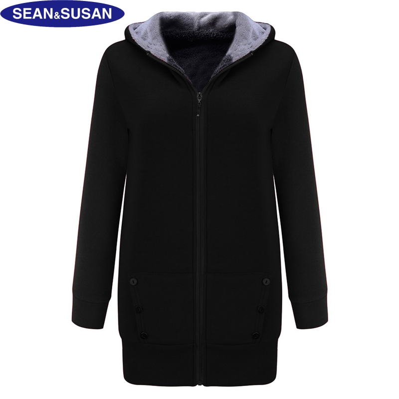 sean susan velvet hooded long coat fleece lined slim jacket women faux fur basic coats winter. Black Bedroom Furniture Sets. Home Design Ideas