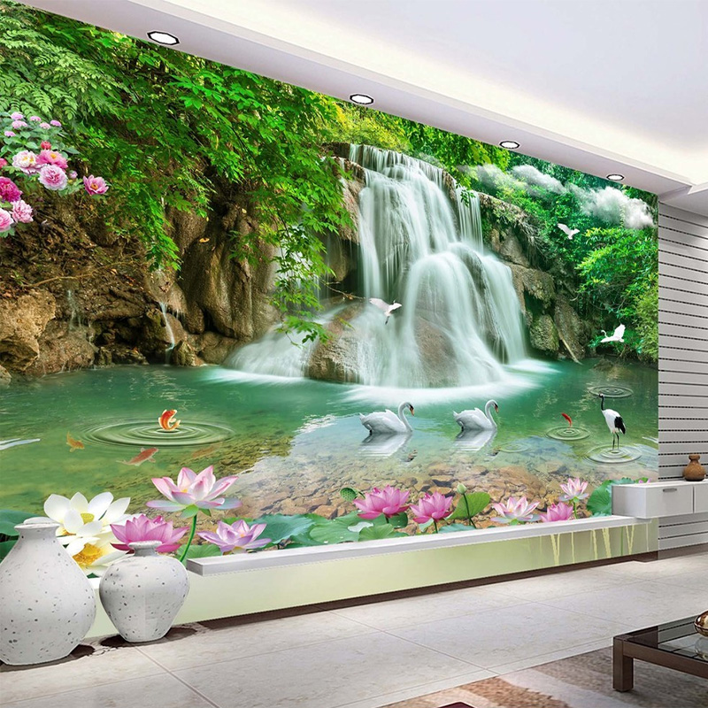 Custom Photo Mural Wallpaper HD Waterfall River White Swan Green Tree Nature Pastoral Landscape 3D Mural Wallpaper For Walls 3 D