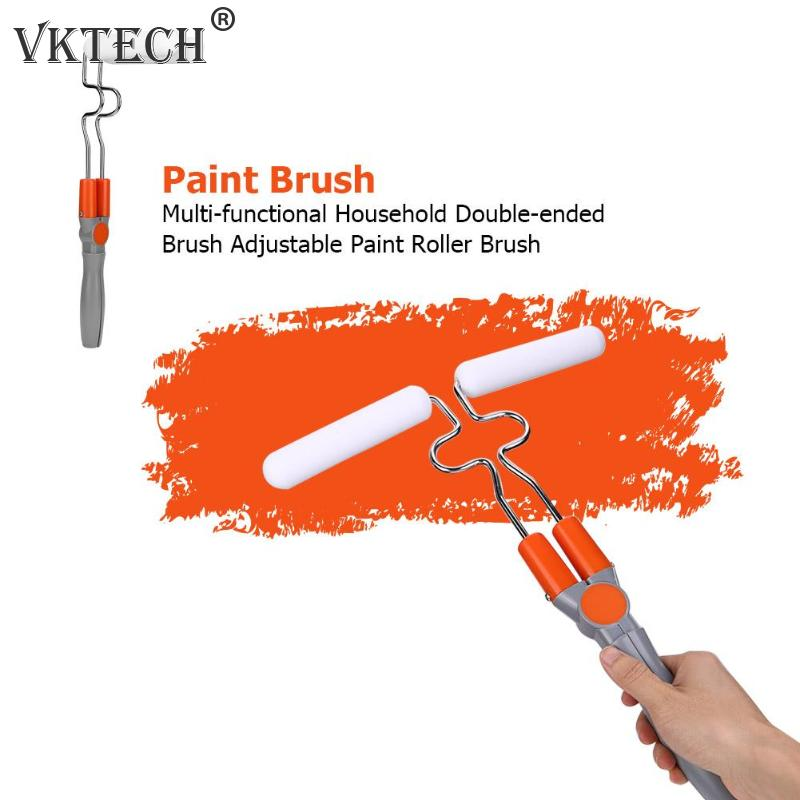 Paint Brush Adjustable Paint Roller Brush Multi-functional Household Double-ended Brush with 4pcs Sponges Home Wall Decoration