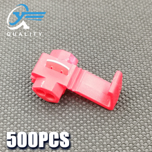 500PCS red Scotch Lock Electric Wire Cable Connector Quick Splice Terminal Crimp Nondestructive Without Breaking Line AWG 18-14 500pcs ce 1 close end quick splice wire connector for awg 22 16 page 5