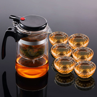7Pcs Set Heat Resistant Glass Kung Fu Tea Set Elegant Cup Double Wall Teacup Flower Tea Convenient Teapot Infuser Coffee Kettle