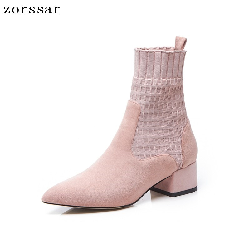 {Zorssar} Fashion Ankle Elastic Sock Boots Chunky High Heels Women Ankle Boots spring Autumn Booties Pointed Toe Women Pumps zorssar fashion ankle elastic sock boots chunky high heels stretch women autumn winter sexy booties women ankle boots size 43