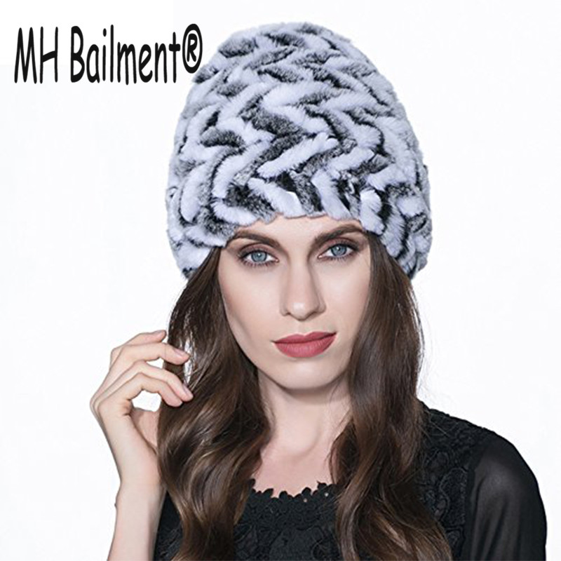 Russian Hot Real Rabbit Fur Hat for Women Winter Warm Knitted Natural Rabbit Fur Hat Genuine Lady Casual Striped Beanie Hat H#10 russian phrase book