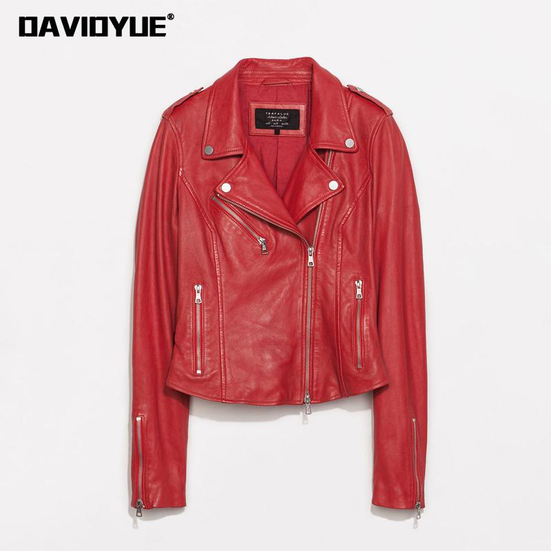 Spring Coat Women Motorcycle Faux PU   Leather   Jacket Women Outerwear Red Black Rivet Ladies Moto   Leather   Biker Jacket 2018 New