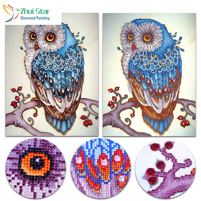 Zhui Star 5D DIY Partial Diamond painting cross owl  Diamonds mosaic Shiny Rhinestone Embroidery Christmas Home decor