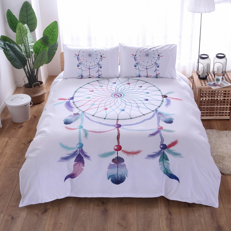 Feathers Windbell Bedding Set Bohemian Printed Feather Bed Linens Set Twin Full Queen King Size Duvet Cover Set Pillowcase