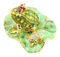 Legendary Bachelorette Frog Prince Crystals Toad King Crown Trinket Jewelry Box Lily Pad 8 3 6