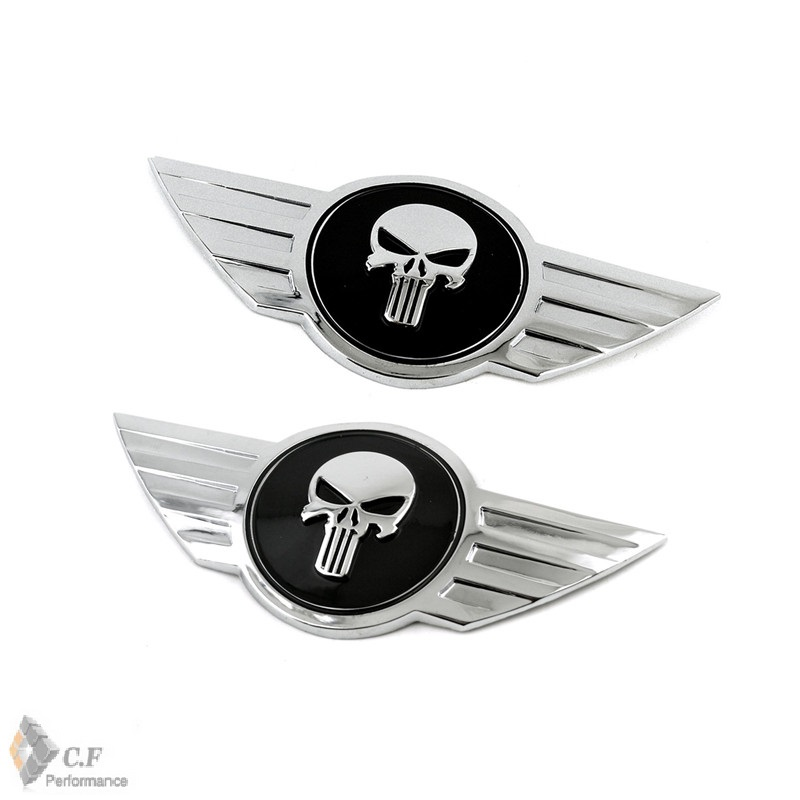 Rhino Tuning 2PC The Punisher Car Emblem Skull Badge Auto Front Rear Tailgate Sticker For Cooper R56 Clubman Cabrio Coupe 615 auto chrome for 2008 2013 genesis front rear wing emblem badge sticker
