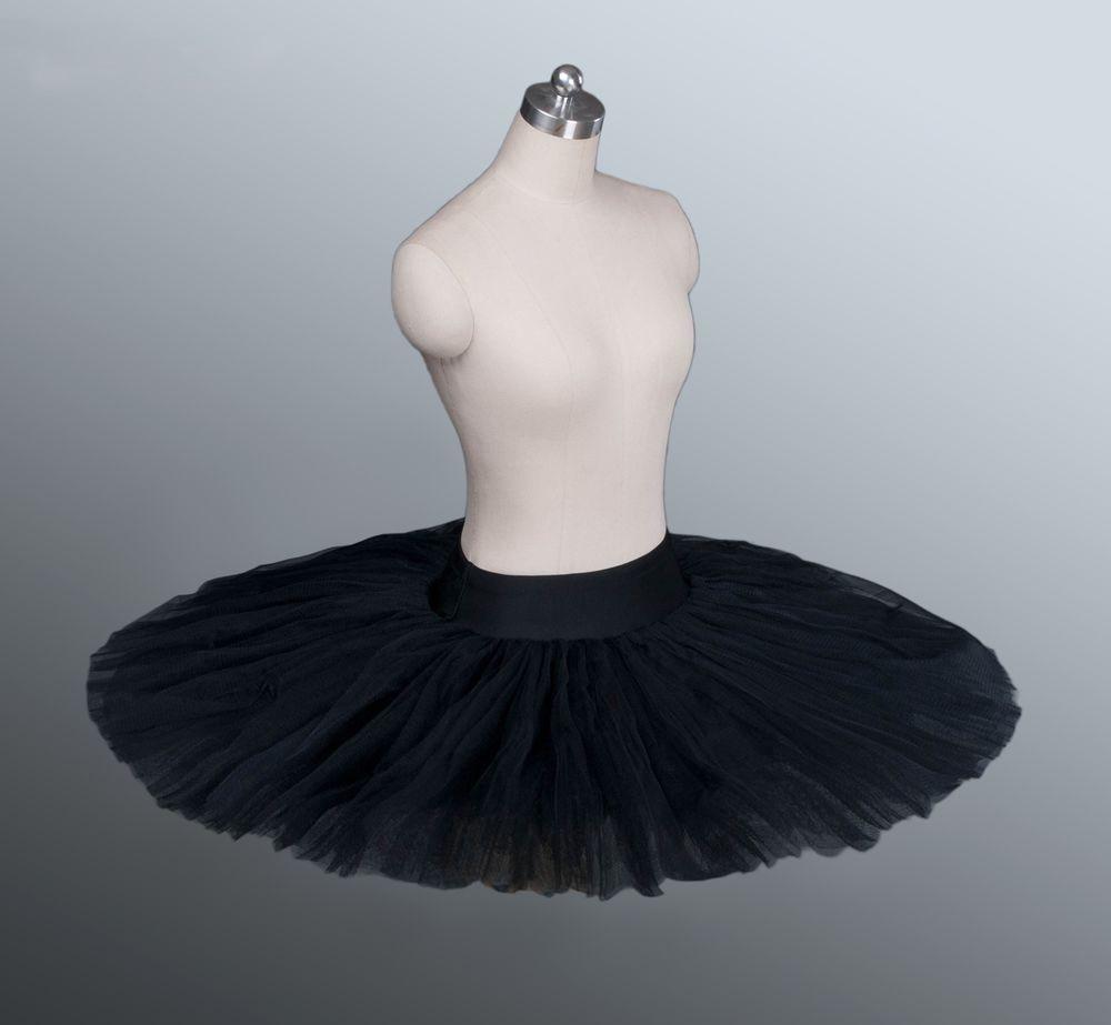 Firm Tulle Black Professional Half Ballet Tutu Professional Ballet Tutus Pancake Practice Rehearsal Platter Ballet Half Tutus