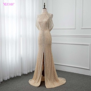 Image 3 - Luxo ouro longo cristais beading vestido de noite sereia vestido de noite formal vestidos femininos yqlnne