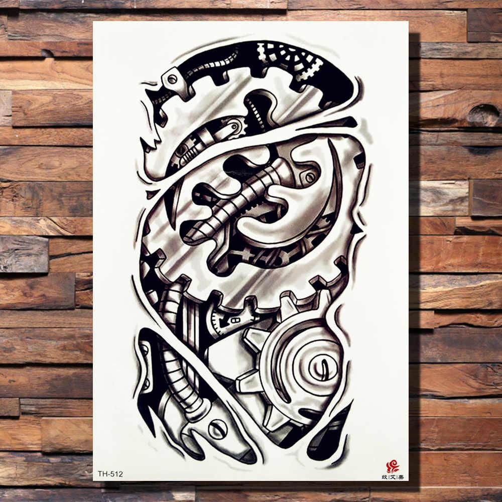 a8738a6e100f6 ... FANRUI Robotic Arm Gear Rose Temporary Tattoo Sticker Lion Flower Bird  Wing Waterproof Tattoos Body Art ...