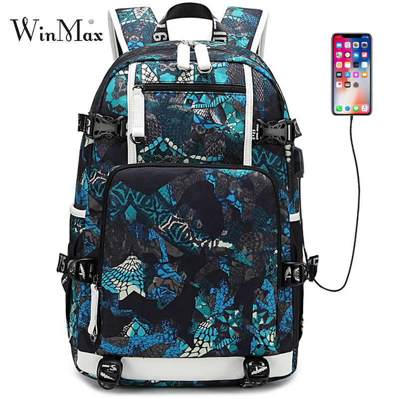 2019 New Graffiti Backpack School Bags For Boys Teenage USB Laptop Backpacks Collage Cool Backpack Galaxy Large Daypack Mochila
