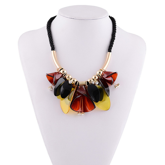 Ожерелье 2016 ZA ожерелья известная марка ювелирных изделий смола колье черный сеть цветок shourouk заявление женские духи