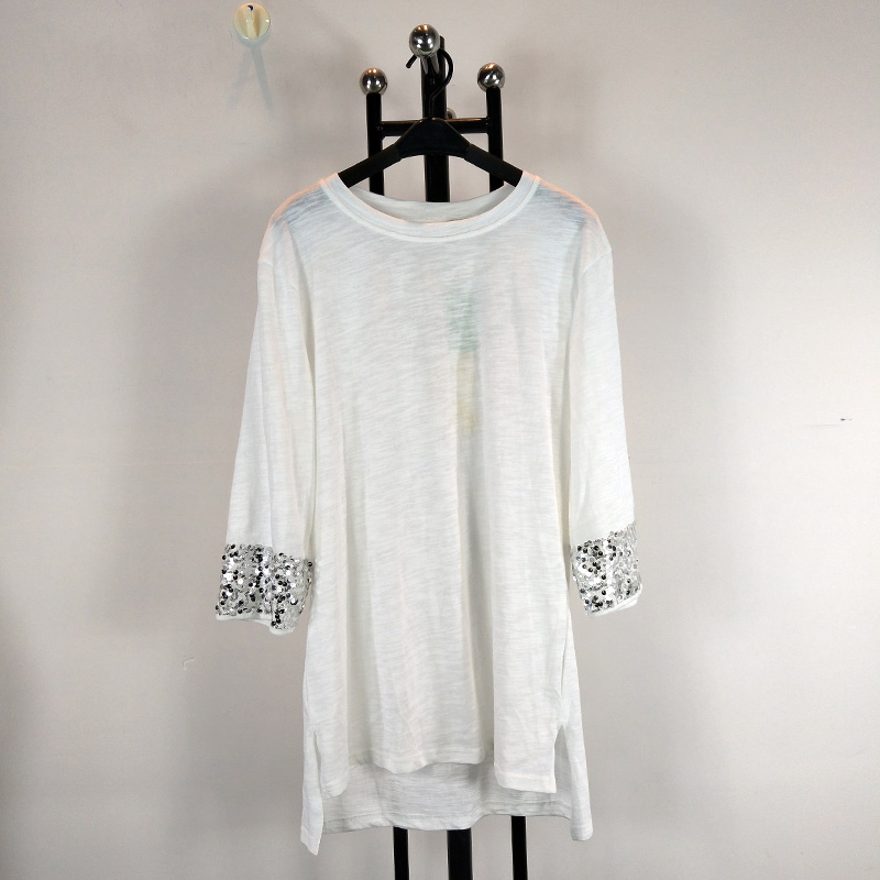 New design casual pure cotton tee sequins sleeve t shirt Girl t shirts design