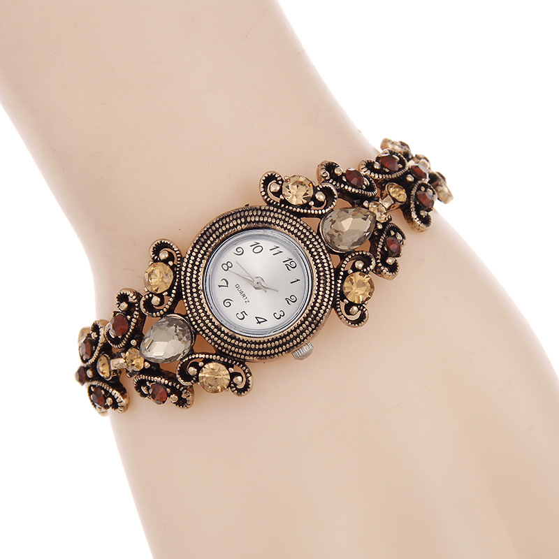 FUNIQUE Retro Ziffern Armband Uhr Frauen Strass Floral Carving Strap - Damenuhren