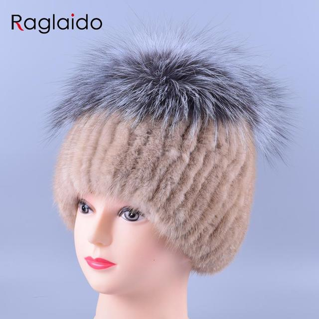 3colors Skullies& Beanies Silver Fox+ Mink Fur Hats Hand Knitted Real Fur Noble Winter Hats Women's Fur Caps Solid Tops LQ11152