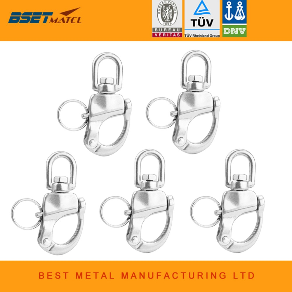 5X 316 Stainless Steel Swivel snap Shackle Quick Release Boat Anchor Chain Eye Shackle Swivel Snap Hook for Marine Architectural