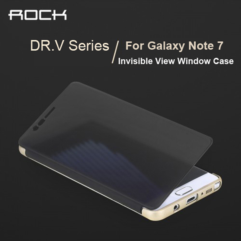 For Samsung Galaxy Note 7 Case ROCK Dr.V Luxury Smart View Full Window Flip Case For Galaxy Note 7 TPU+PC Phone Housing Covers