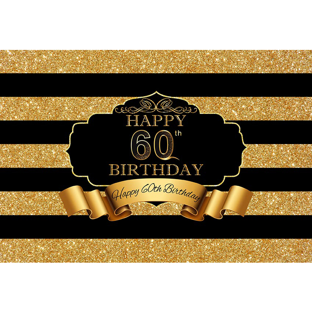 Black And Gold Striped 60th Birthday Backdrop Printed