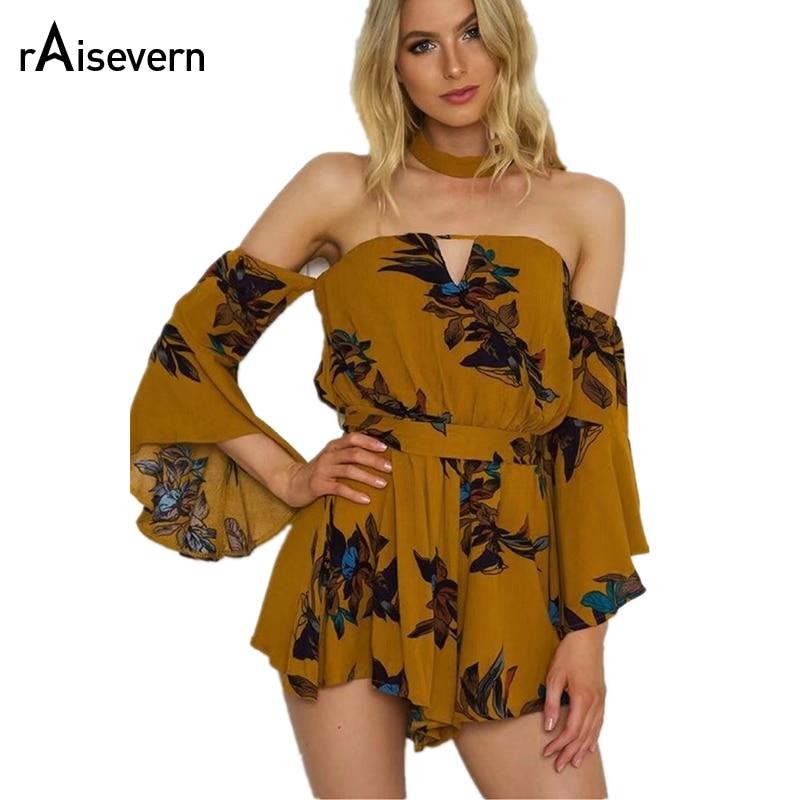 Raisevern New Off Shoulder Floral Print Jumpsuit Summer Women Vintage Style Flare Sleeve Streetwear Sash Loose Casual Bodysuits