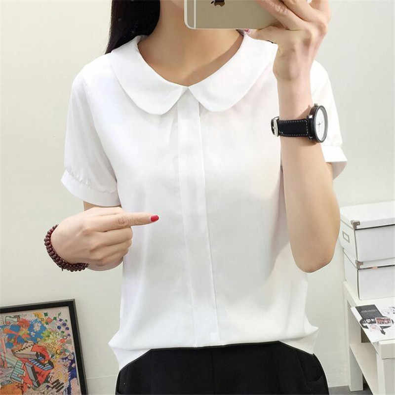 5e0bfb057c743 Korean 2018 Women Tops Short Sleeve Blouses Women Summer Casual Chiffon Blouse  Female Work Wear Solid