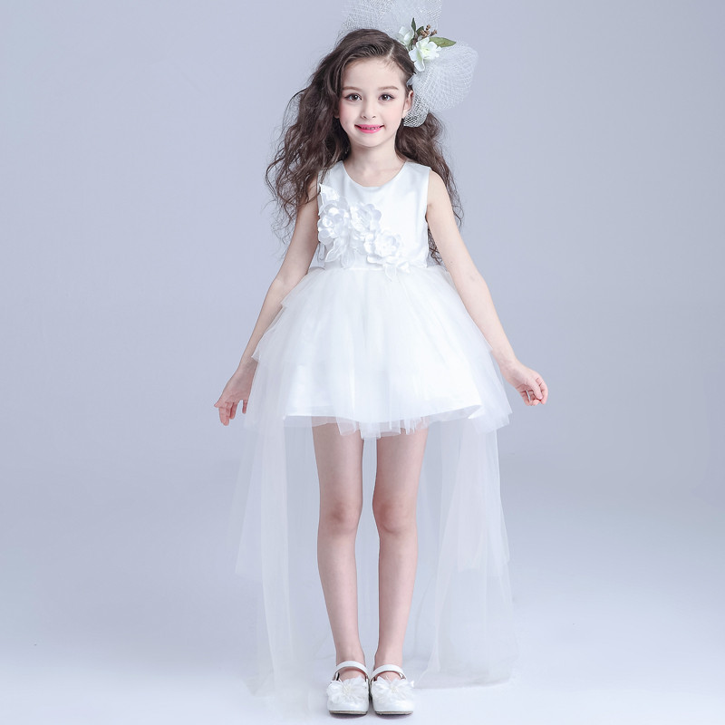 ФОТО Brand Long Tailed Formal Girl's Dresses Children White Sleeveless Ball Princess Flower Girl Vestidos Kids Clothes 2017 AKF164023