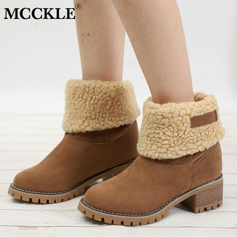 MCCKLE Plus Size Women Winter Faux Fur Warm Snow Boots Female Casual Platform Block Heel Ankle Boots Footwear Drop Shipping trendy color block and faux fur design women s snow boots