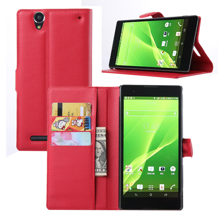 T2 Fashion Wallet PU Leather Case For Sony Xperia T2 Ultra / Dual D5322 XM50h Magnetic Filp Cover Fundas Holder Stand Phone Bag
