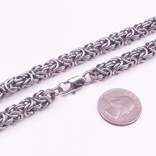 Fashion 6/8mm Wide Silver Tone Stainless Steel Biker Mens Byzantine Box Chain Bracelet Or Necklace Xmas 7-40 Option