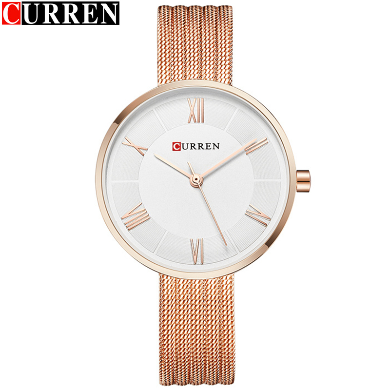 CURREN Small Dial Ladies Watch Rose Gold Mesh Steel Women Watches Top Brand Luxury Women's Wrist Watches Bayan Kol Saati Fashion(China)