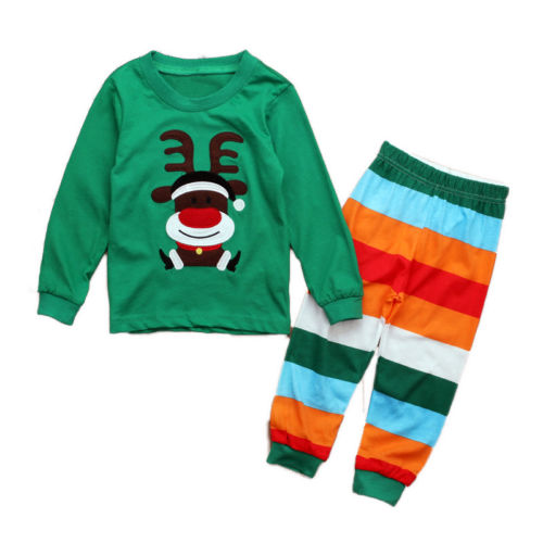 2PCS Christmas Elk Toddler Kid Baby Girl Boy T-shirt+Pants Set-Clothes