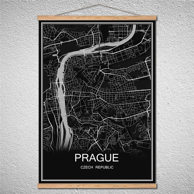 With frame prague modern poster world city map oil painting canvas birch scroll abstract print picture