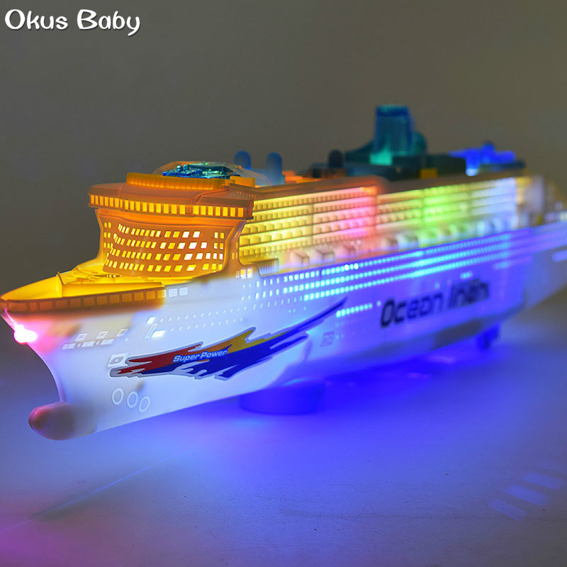 Last Day To Ship For Christmas 2019.Us 11 96 50 Off 2019 Brand New Kids Toys Pool Liner Cruise Ship Flashing Led Light Music Sound Ship Model Toy Children Birthday Christmas Gift In