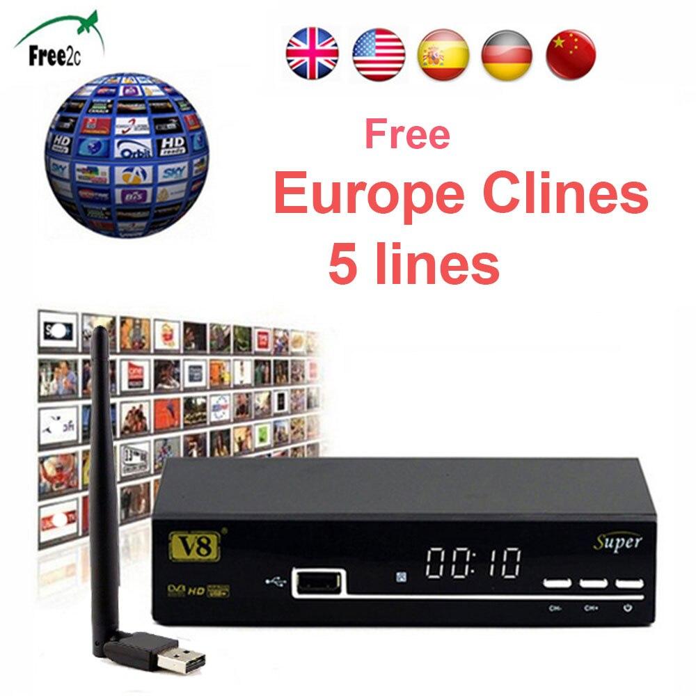 freesat V8 Super DVB-S2 Full 1080P Satellite Receiver free Europe 5 lines Cccam +USB Wifi box support PowerVu, DRE &Biss key