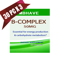 3 Bottles Vitamin B Complex High Strength All 9 B Vitamins Biotin B12 B Complex