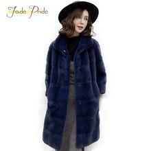 6d09ef0d0727f Yeşim Pride Vizon Kürk Uzun Palto Kadınlar 2017 Kış Vogue ofis Lady Parka  Tam Kollu Tam