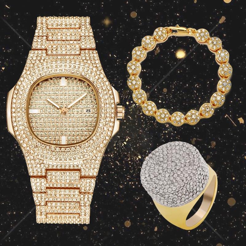 Lureen 3pcs Full Iced Out Quartz Watch Hip Hop Tennis Bracelet CZ Ring Men Gold Color Combo Set Jewelry Party Gift W0001Lureen 3pcs Full Iced Out Quartz Watch Hip Hop Tennis Bracelet CZ Ring Men Gold Color Combo Set Jewelry Party Gift W0001