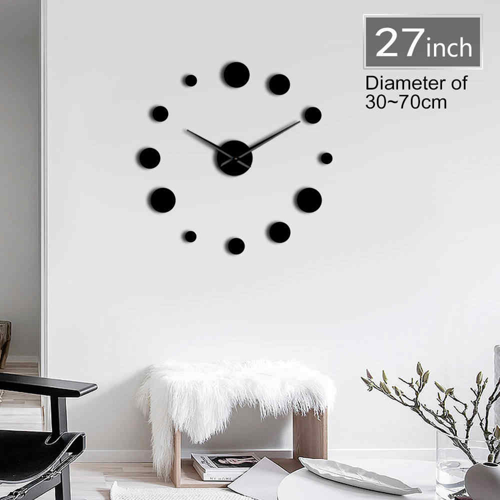 1Piece Round DIY Big Acylic Wall Clock Modern Design Simple Wall Watch Giant 3D Mirror Frameless Wall Clock Sticker Home Decor