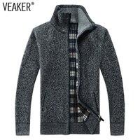 Осень-зима 2018, мужской свитер, пальто из искусственного меха, шерстяной свитер, куртки для мужчин, на молнии, вязаное плотное пальто, Повседн...