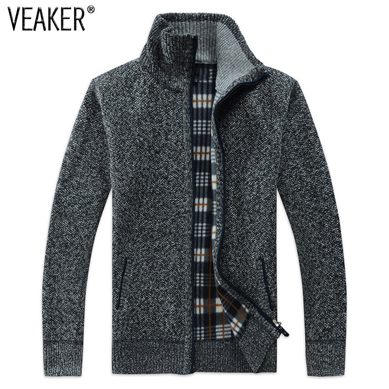 Autumn Winter Men's Sweatercoat Faux Fur Wool Sweater Jackets Men Zipper Knitted Thick Coat Casual Knitwear M-3xl