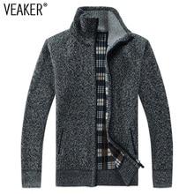 2018 Autumn Winter Men's SweaterCoat Faux Fur Wool Sweater Jackets Men Zipper Knitted Thick Coat Casual Knitwear M-3XL