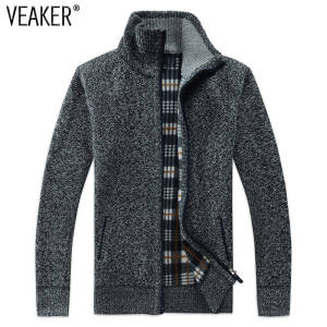 e38cbeb2c48792 VEAKER 2018 Wool Sweater Men Zipper Knitted Casual Knitwear