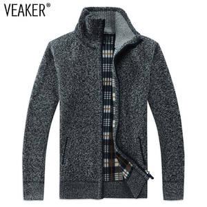 e38cbeb2c48792 VEAKER 2018 Wool Sweater Men Zipper Knitted Casual Knitwear