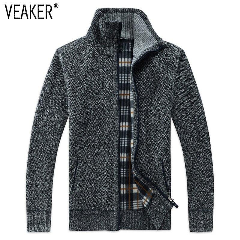 2018 Otoño de los hombres de invierno SweaterCoat de piel sintética de lana suéter chaquetas de los hombres de punto con cremallera abrigo grueso de punto M-3XL