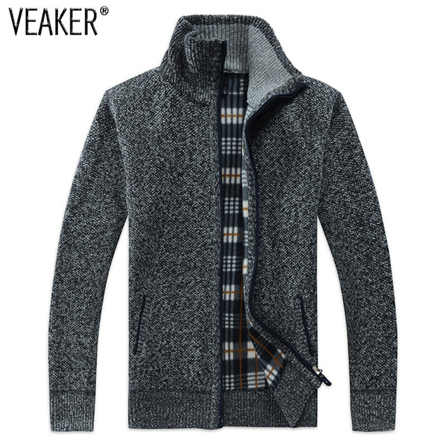 2018 Outono Inverno SweaterCoat Suéter de Lã da Pele Do Falso dos homens Jaquetas Homens Zipper Casaco de Malha Grossa Casual Malhas M-3XL