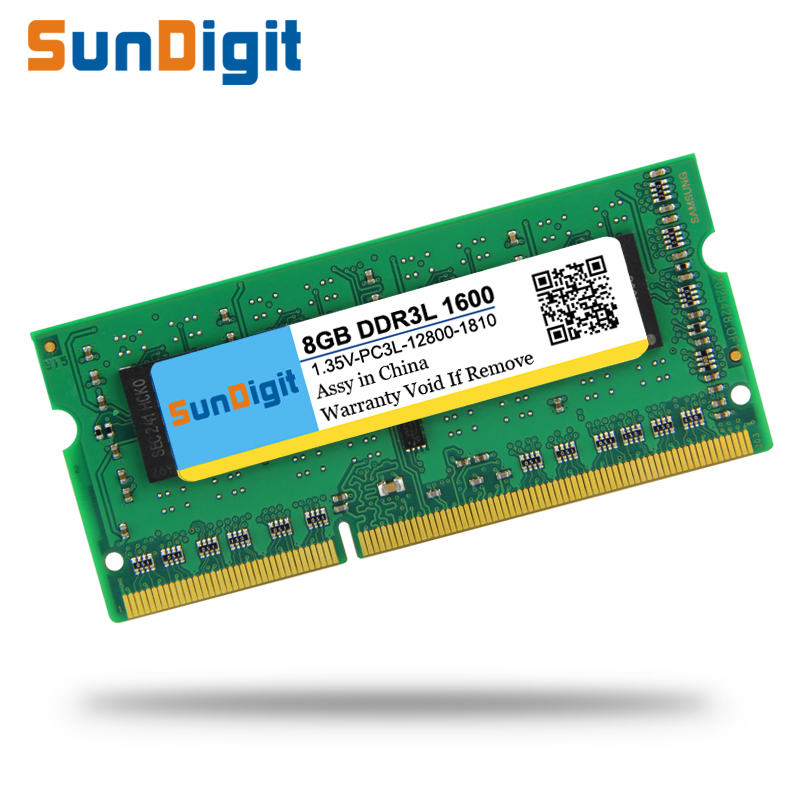 AOA Group Co., Ltd Brand SunDigit 1.35v Laptop Memory Ram DDR3L 1333 1600 Mhz 8GB 4GB 2GB for Notebook Sodimm Memoria Compatible with DDR3 1066Mhz